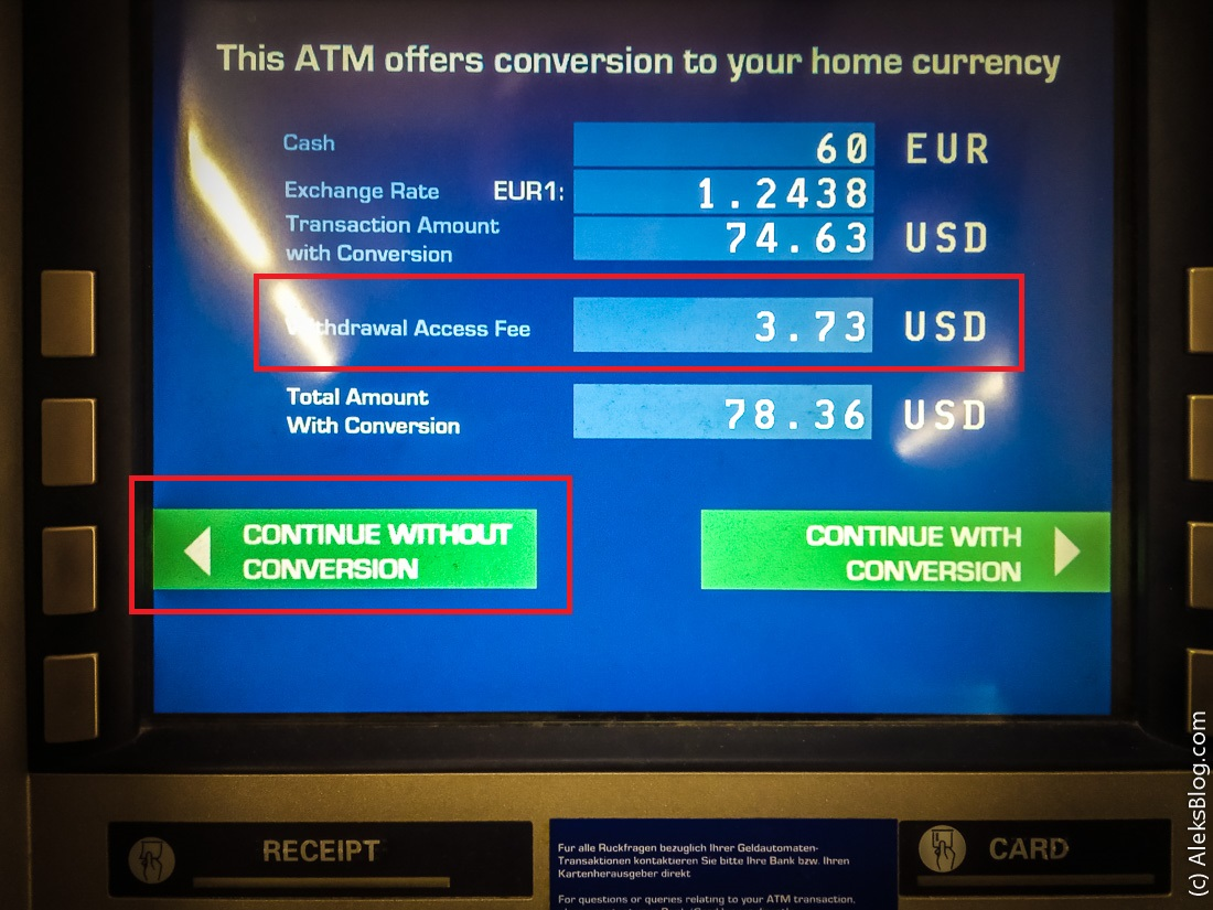 банкоматы комиссии
