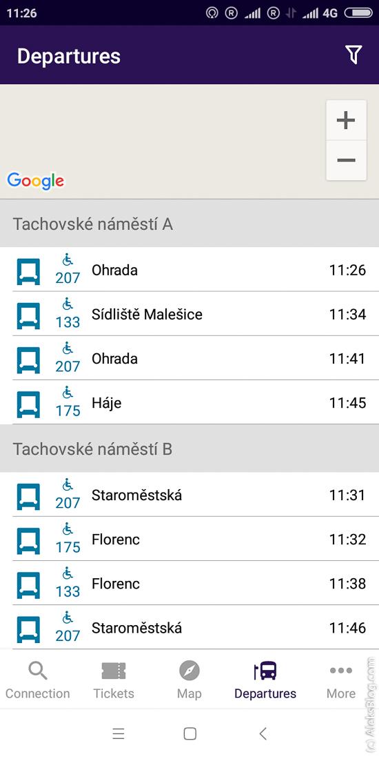 расписание транспорта в Праге