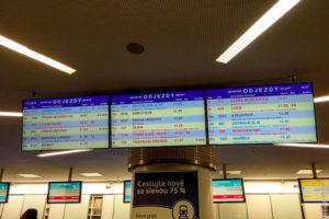Табло главного вокзала Праги