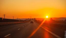 Дорога, автомобиль, закат