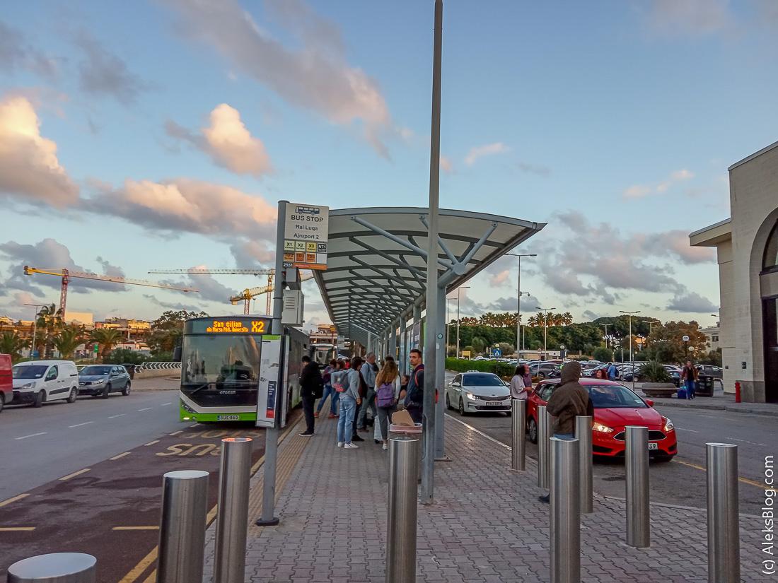 Аэропорт Мальты где стоянка автобусов