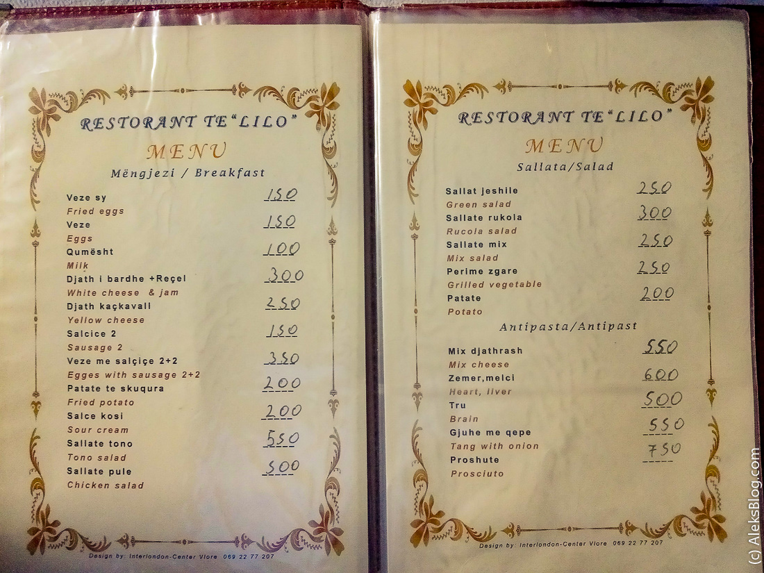 Цены на еду в Албании