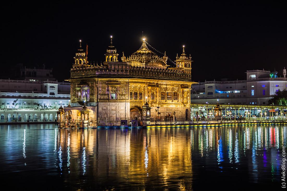 Амритсар Золотой храм ночью